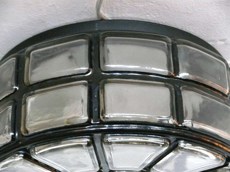 Geometric Glass Flush Mount In Good Condition For Sale In Los Angeles, CA