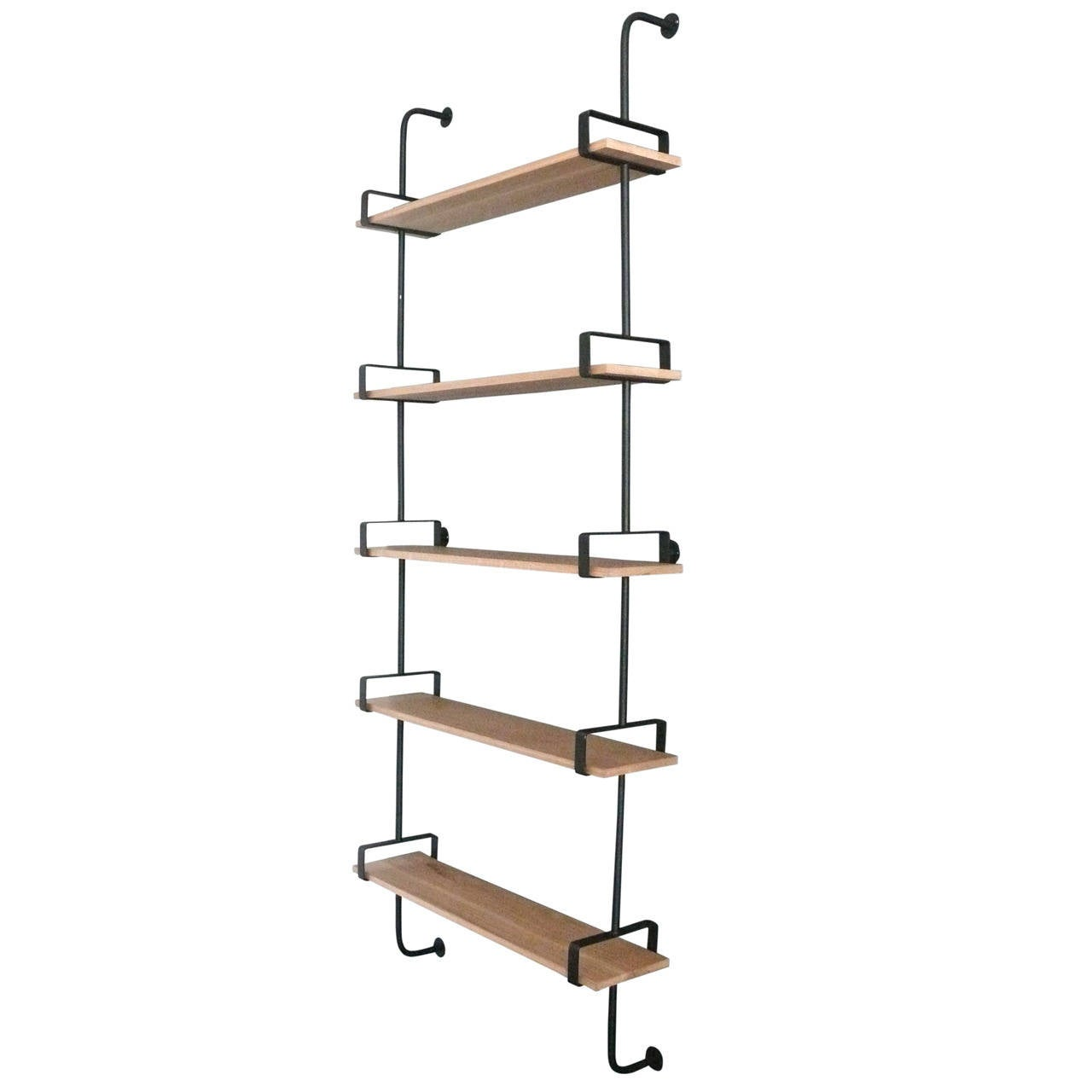 French Iron and Oak Wall Shelves 1