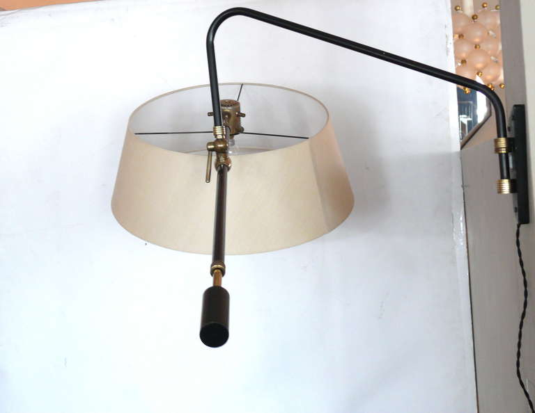 Large French Brass and Metal Wall Sconce at 1stdibs