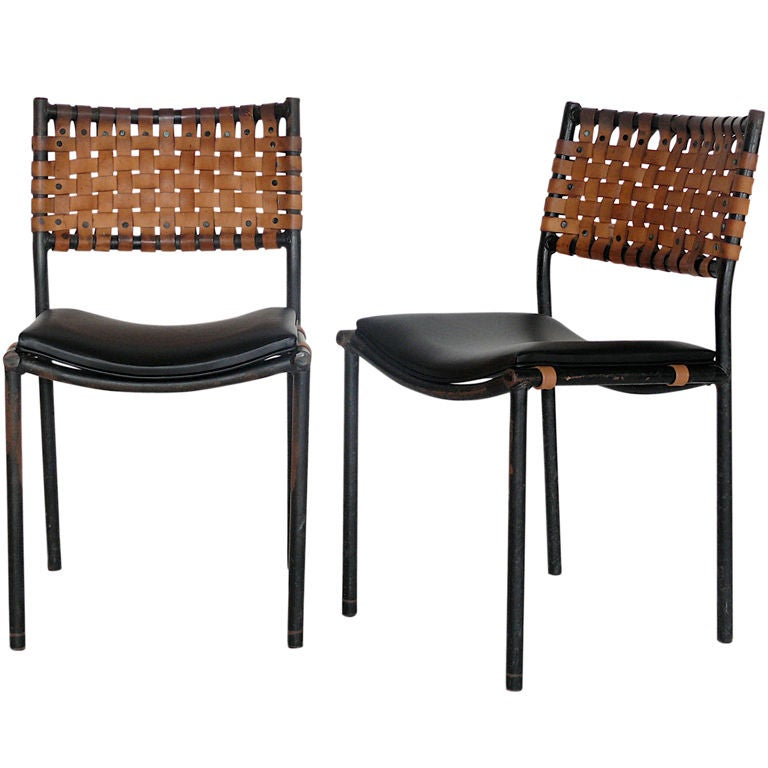 Woven Leather Chairs at 1stdibs