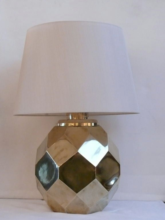 Great pair of hexagon multi-facited lamps made of heavy solid ceramic and plated in brass by Chapman. Handsome and great quality.  New silk shades and newly rewired.