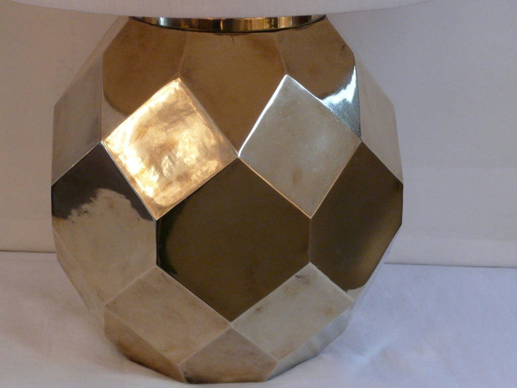 American Hexagon Ceramic Brass Lamps by Chapman