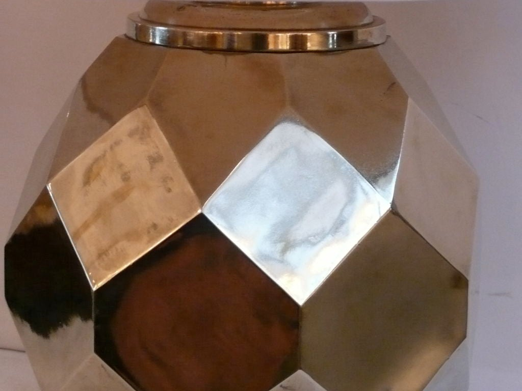 20th Century Hexagon Ceramic Brass Lamps by Chapman