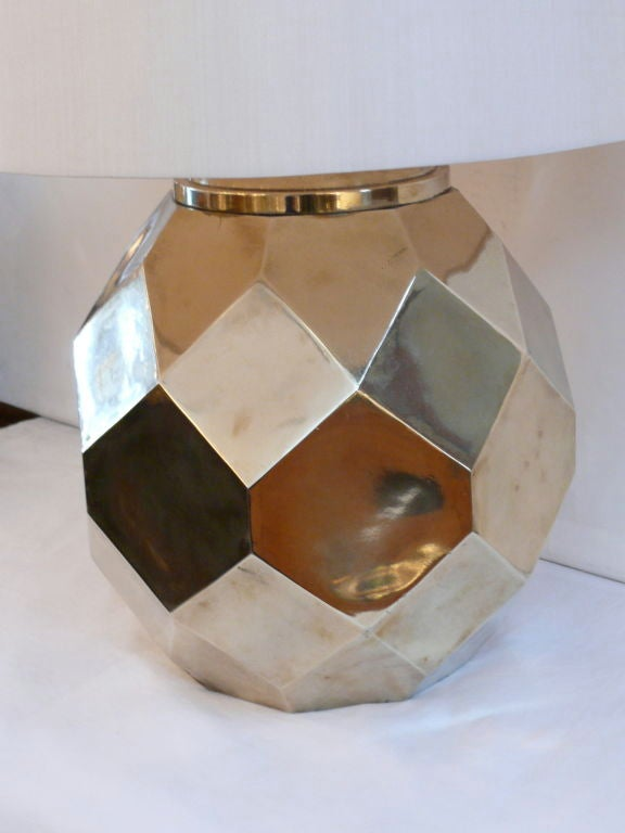 Hexagon Ceramic Brass Lamps by Chapman 4