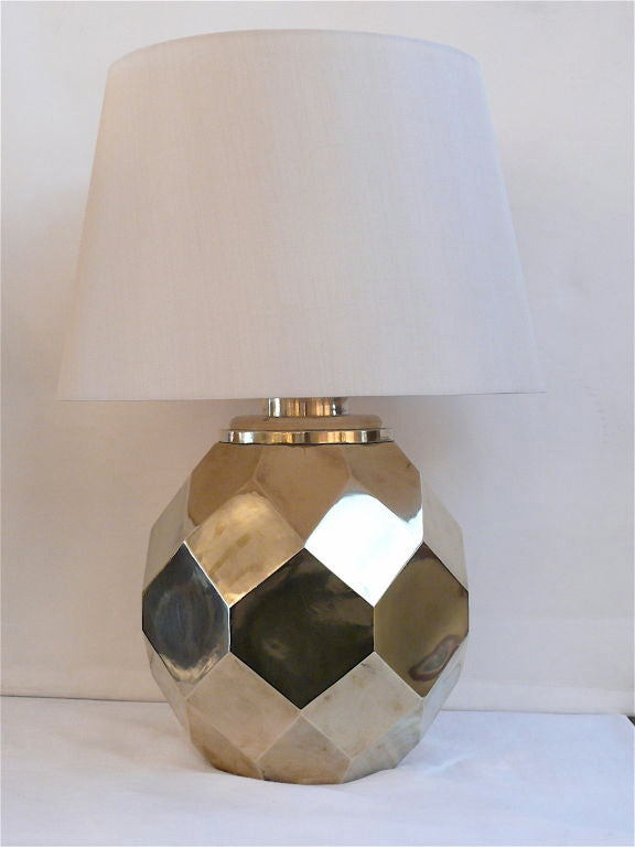 Hexagon Ceramic Brass Lamps by Chapman 5