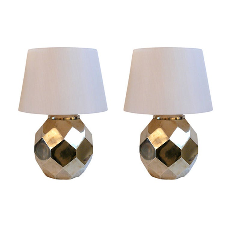 Hexagon Ceramic Brass Lamps by Chapman