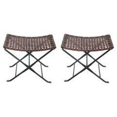 Woven Leather and Iron Stools