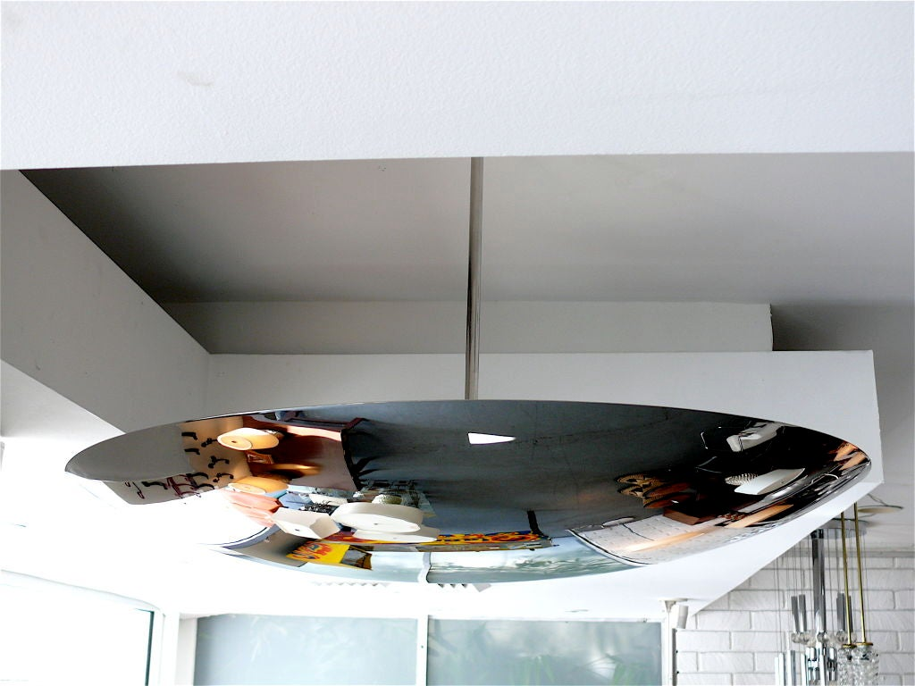 Large Nickel Dome Ceiling Light In Excellent Condition For Sale In Los Angeles, CA