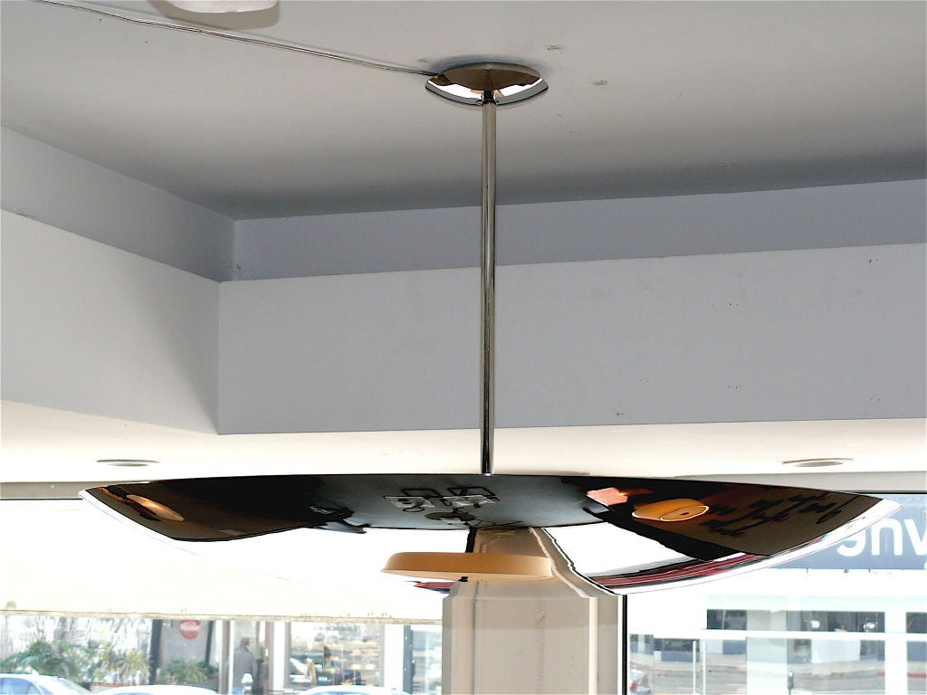 Large Nickel Dome Ceiling Light For Sale 2