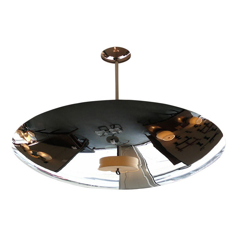 Large Nickel Dome Ceiling Light For Sale