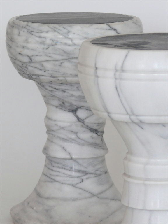 American Carved Marble Garden Stools For Sale