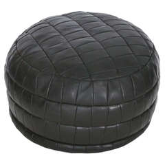 Black Leather Patched Ottoman by De Sede