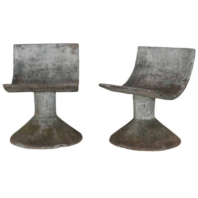 French Cast Concrete Chairs At 1stdibs