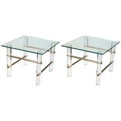 Lucite and Brass End Tables