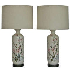 Ceramic Cherry Blossom Lamps by Marbro