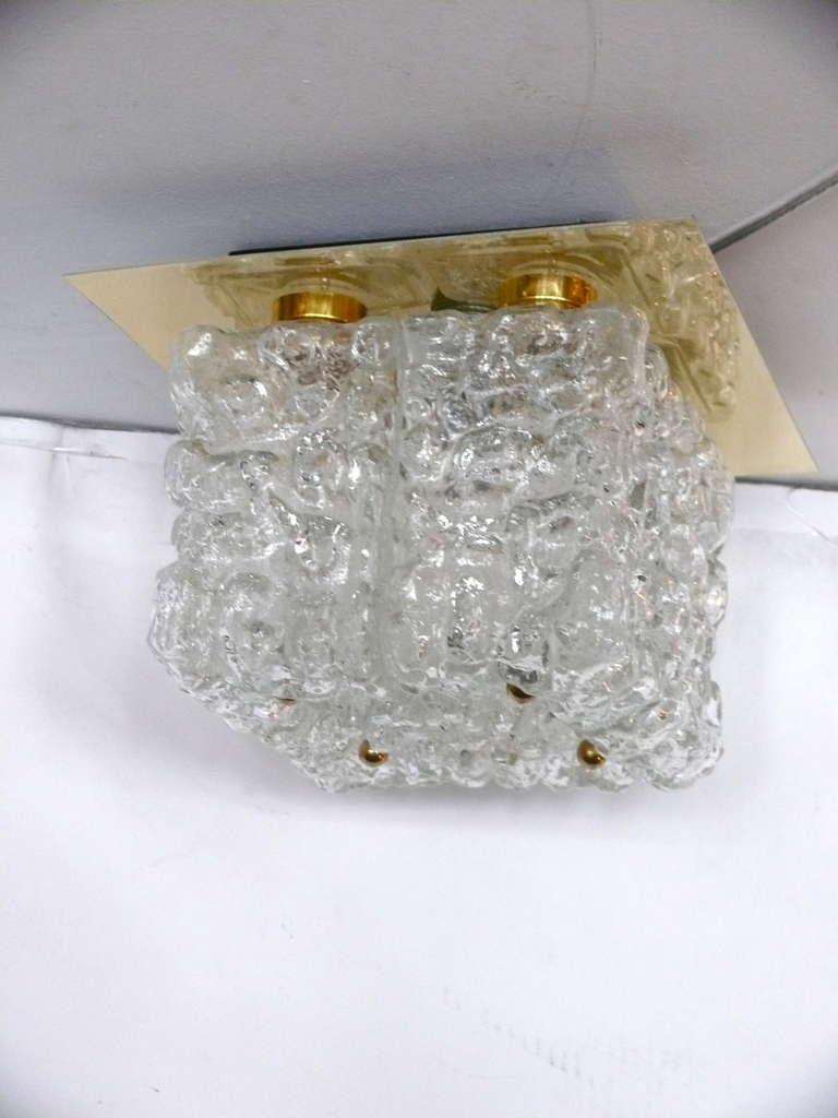 German Ice Glass Flush Mount For Sale