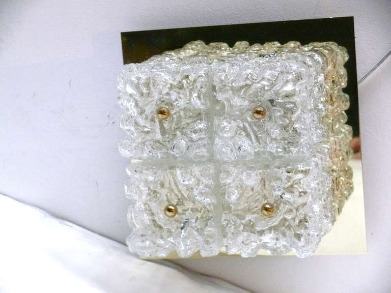 Ice Glass Flush Mount In Excellent Condition For Sale In Los Angeles, CA