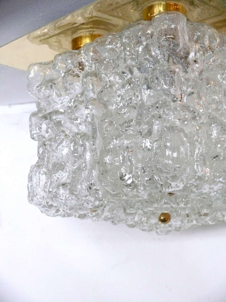 Brass Ice Glass Flush Mount For Sale
