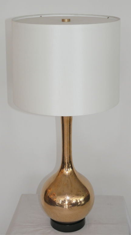 Gold crackled mercury glass lamps at 1stdibs for Gold crackle floor lamp