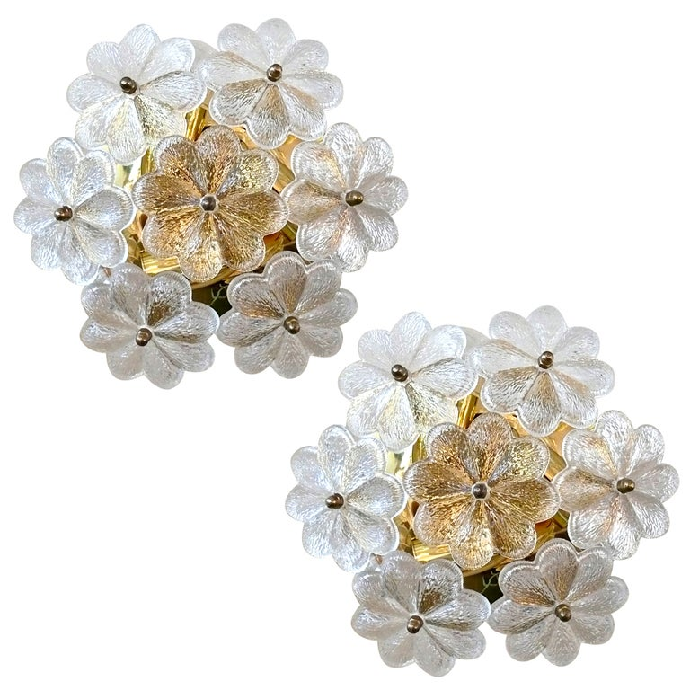 Glass Wall Sconces For Flowers : Flower Glass Sconce by Ernest Palme at 1stdibs