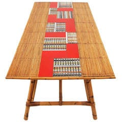 Rattan and Tile Dining Table by Roger Capron