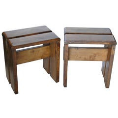 Pair of Oak Stools by Charlotte Perriand