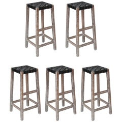 Cerused Oak and Leather Barstools by Brandt Ranch