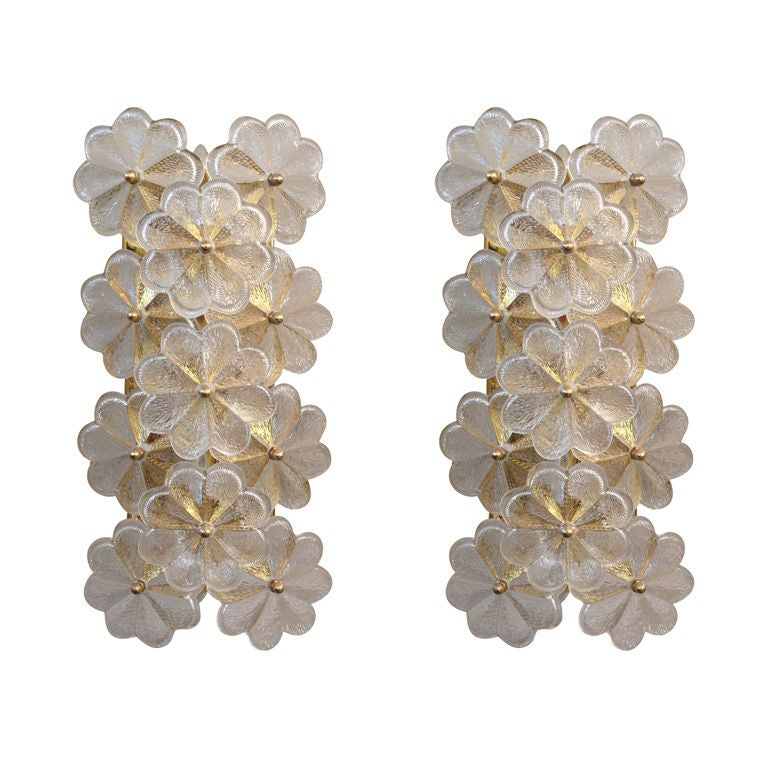 Glass Wall Sconces For Flowers : Flower Glass Sconces by Ernest Palme at 1stdibs