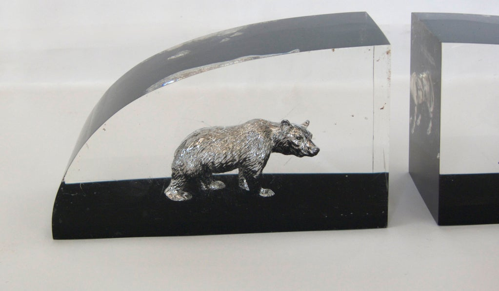 Vintage Lucite Bull And Bear Wall Street Bookends At 1stdibs