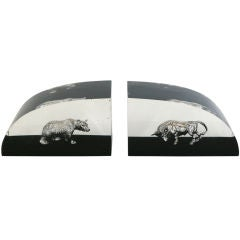 Vintage Lucite Bull & Bear Wall Street Bookends