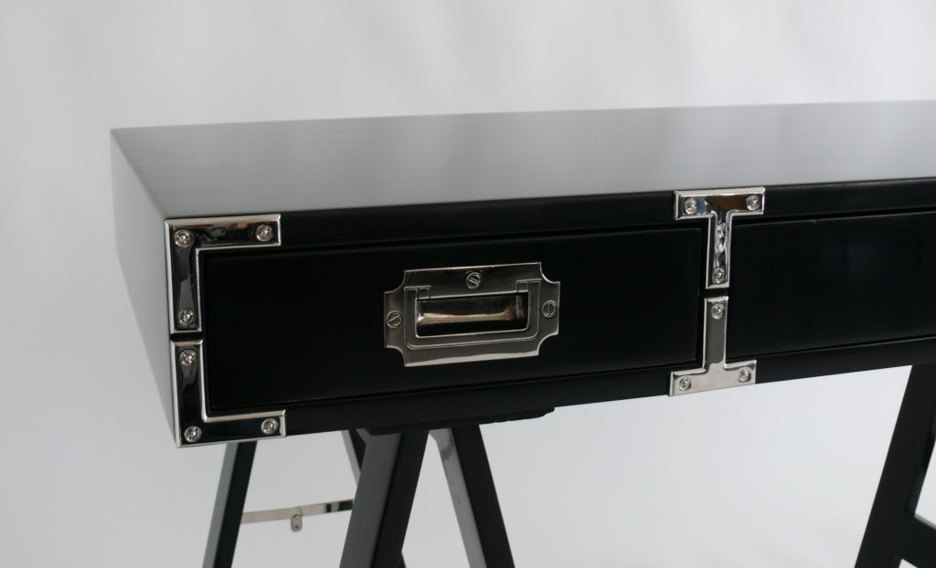 Handsome Campaign Desk Newly Lacquered In A Dark Navy Blue With Polished Nickel Hardware And Sawhorse