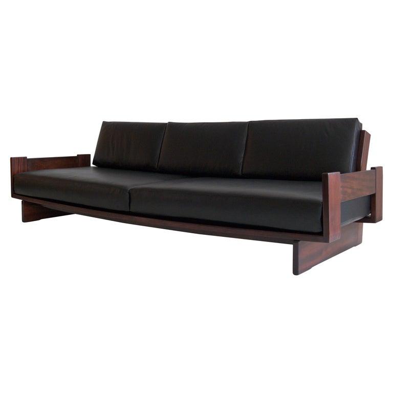 Mahogany And Leather Sofa At 1stdibs