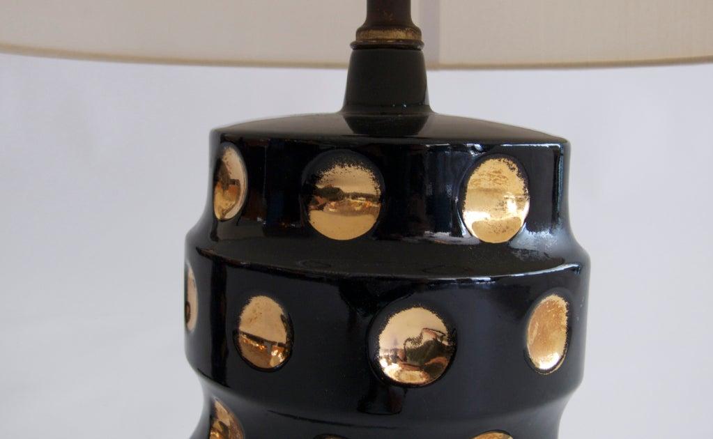 Gold And Black Ceramic Polka Dot Lamps At 1stdibs