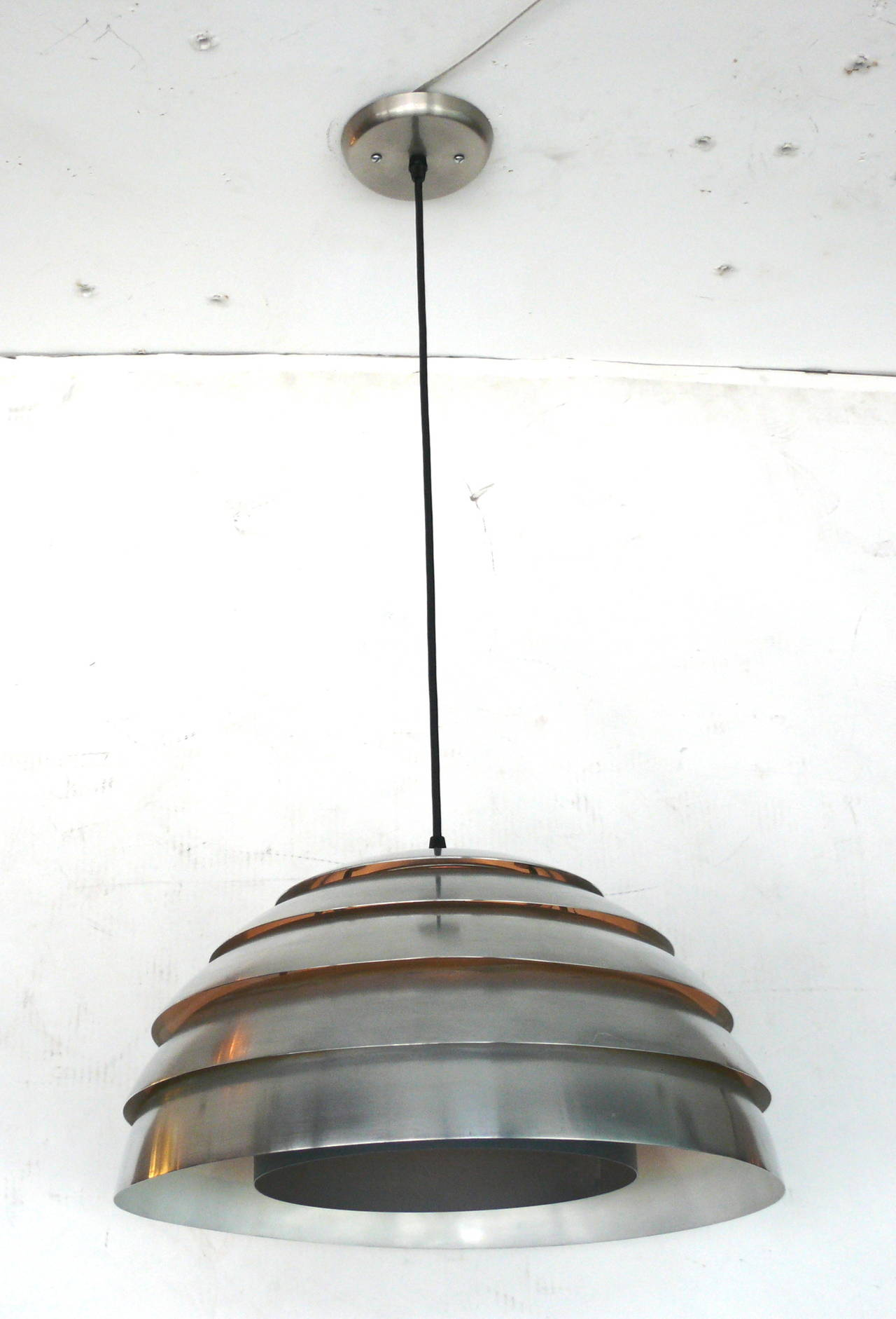 Swedish Chrome Beehive Pendant by Hans-Agne Jakobsson For Sale