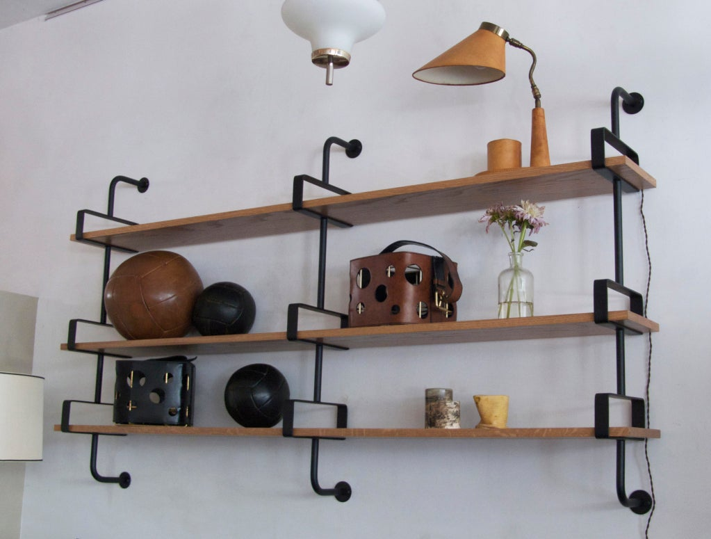 French Iron and Oak Wall Shelves 7