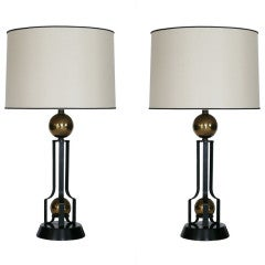 Brass Ball and Iron Table Lamps