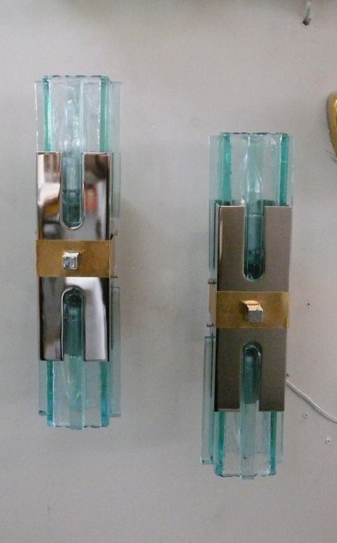 Italian Green Glass Sconces at 1stdibs