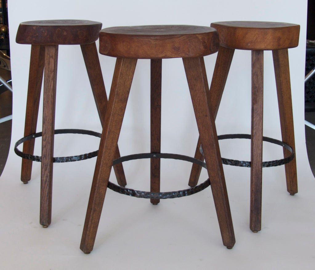 Oak Wood Stools ~ French oak wood stools at stdibs