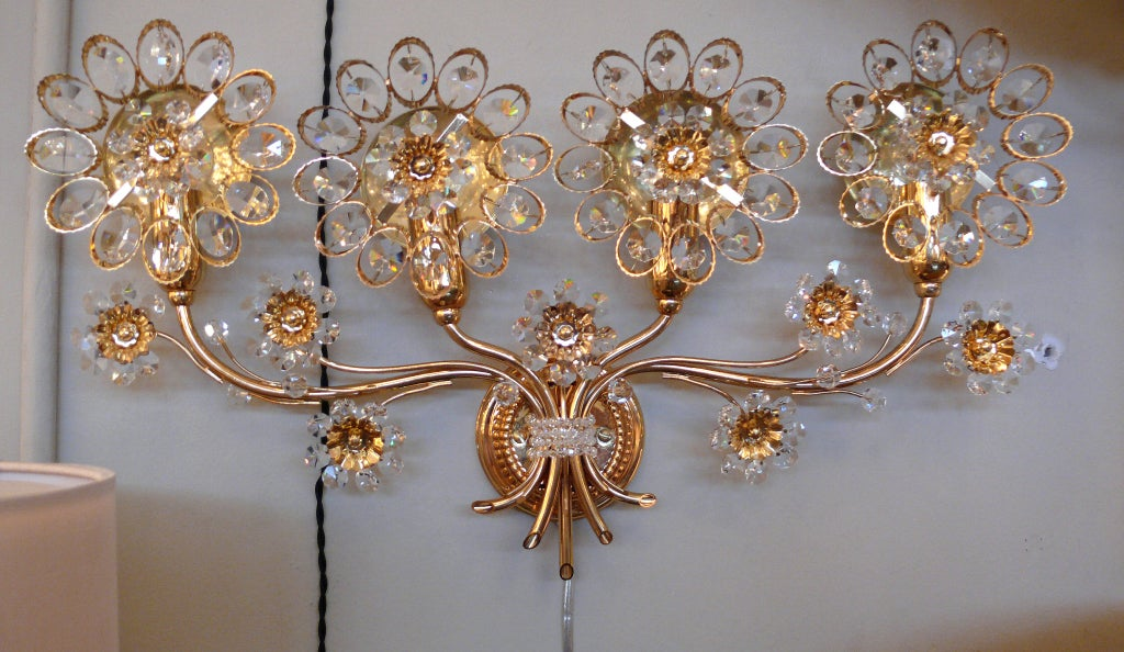 Large Floral Wall Sconces : Large Italian Floral Crystal Sconce at 1stdibs