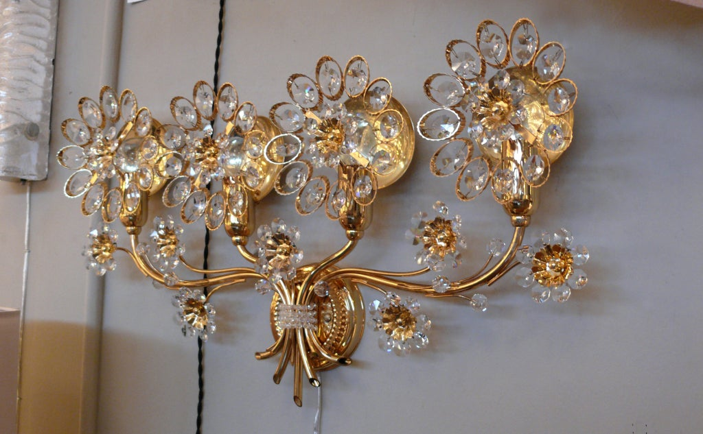 Large Flower Wall Sconces : Large Italian Floral Crystal Sconce at 1stdibs