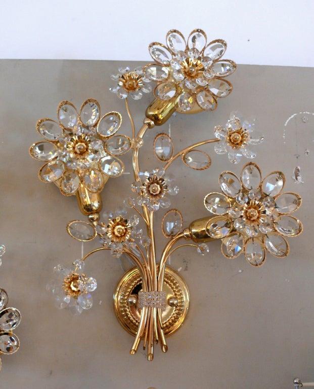 Italian Crystal Wall Sconces : Italian Floral Crystal Sconces at 1stdibs