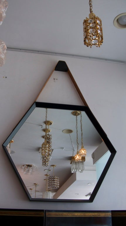 Beverly Oak and Leather Hexagon Mirror by Orange Los Angeles  2