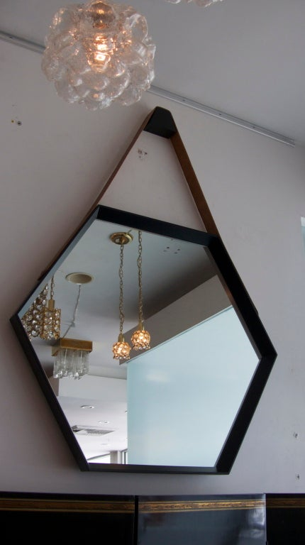 American Beverly Oak and Leather Hexagon Mirror by Orange Los Angeles  For Sale