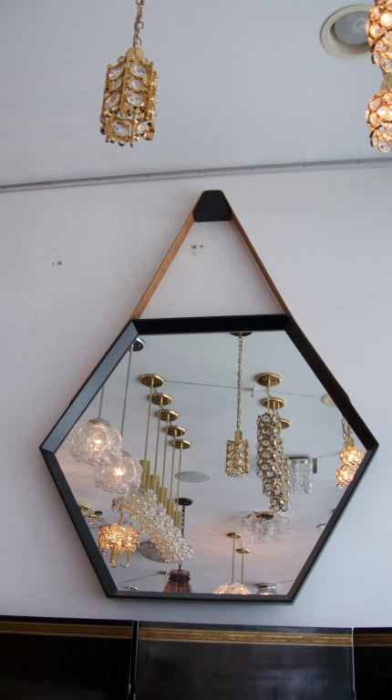 Beverly Oak and Leather Hexagon Mirror by Orange Los Angeles  For Sale 2