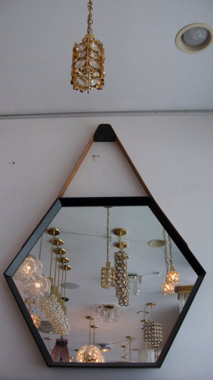 Beverly Oak and Leather Hexagon Mirror by Orange Los Angeles  For Sale 3