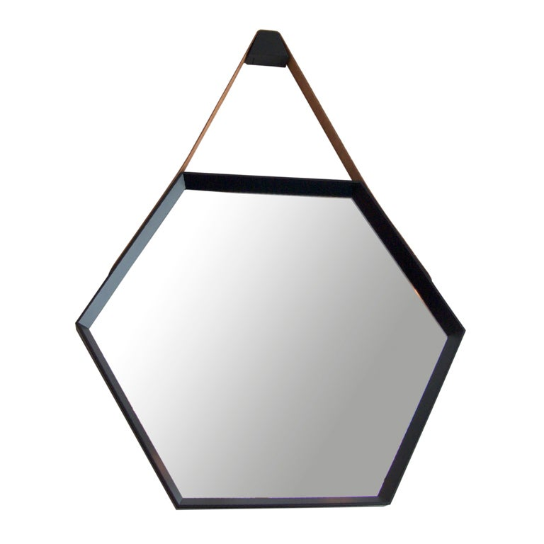 Beverly Oak and Leather Hexagon Mirror by Orange Los Angeles  1