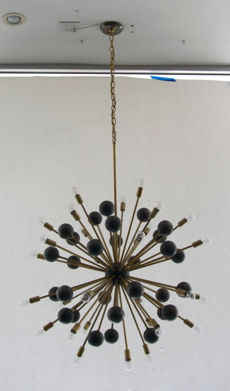 American Large Brass Ball Sputnik Chandelier For Sale