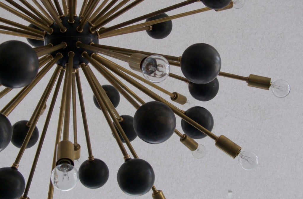 Large Brass Ball Sputnik Chandelier 6