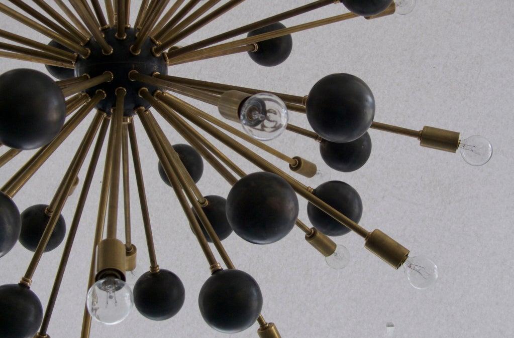 Large Brass Ball Sputnik Chandelier For Sale 1