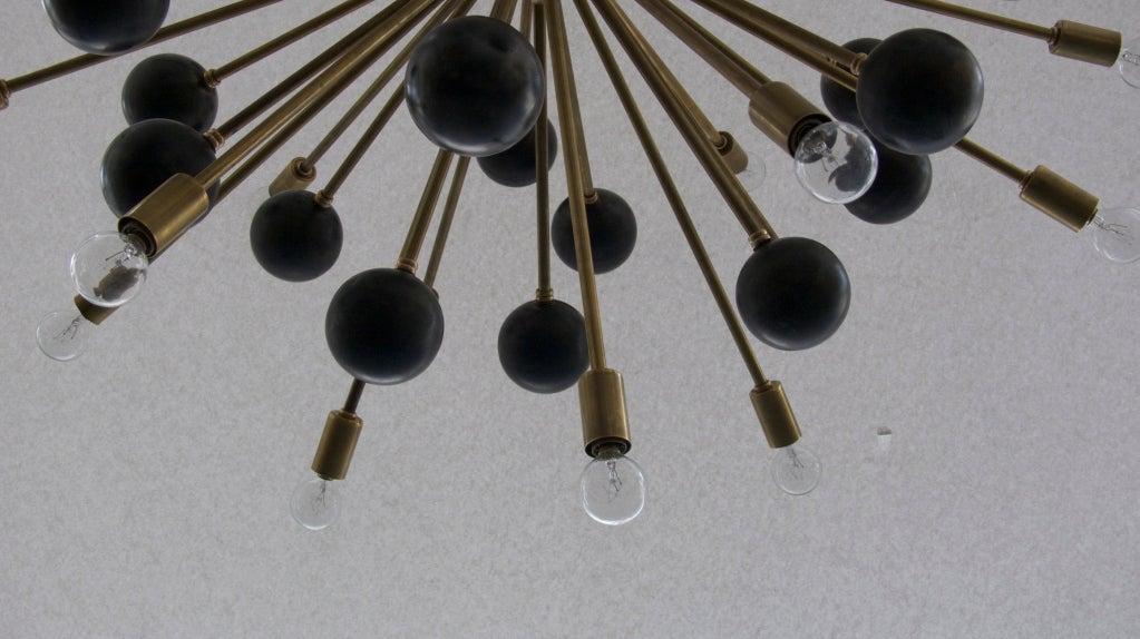 Large Brass Ball Sputnik Chandelier For Sale 2